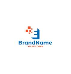 Simple e digital logo design vector