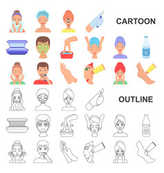 Skin care cartoon icons in set collection for vector