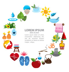 Spa infographics healthy lifestyle icons round vector