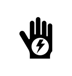 stop hand high voltage flat icon vector image
