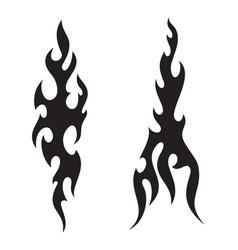 Tattoo fire flames black white silhouette vector