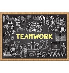 Teamwork on chalkboard vector image