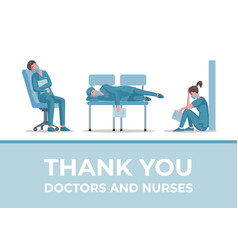 Thank you doctors and nurses banner design vector