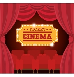 theater ticket cinema golden vector image