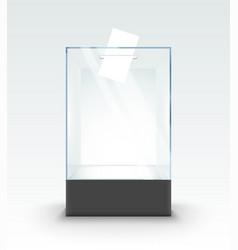transparent glass box ballot vote election empty vector image