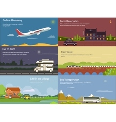 Traveling by airplane and car train bus vector image