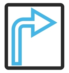 Turn Right Framed Icon vector