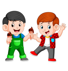 Two boy eating chocolate ice cream in waffles cone vector