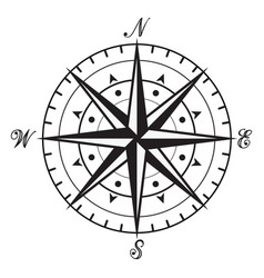 vintage black and white compass vector image