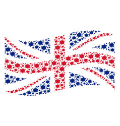 Waving great britain flag collage of bang icons vector