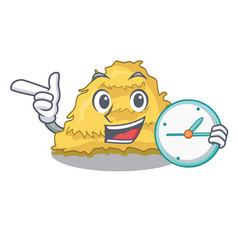 With clock hay bale character cartoon vector