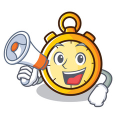 with megaphone chronometer character cartoon style vector image vector image