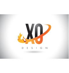 xo x o letter logo with fire flames design and vector image