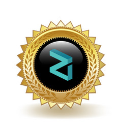 Zilliqa cryptocurrency coin gold badge vector
