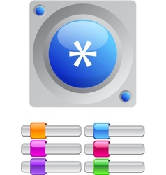 Asterisk color round button vector image vector image