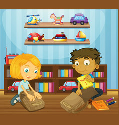 Boy and girl packing schoolbags vector image vector image