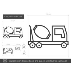 concrete mixer line icon vector image vector image