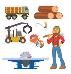 Sawmill woodcutter character logging equipment vector