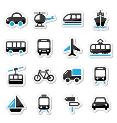 Transport travel icons set isoalated vector image vector image