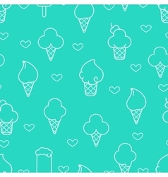 White line ice cream icons vector image vector image