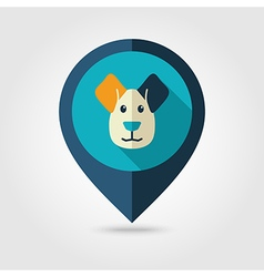 Dog flat pin map icon animal head vector