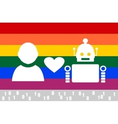 Human and robot relationships LGBT flag vector image
