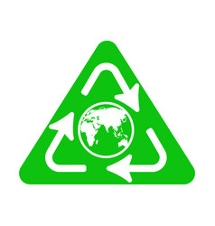 recycle icon with earth globe vector image vector image