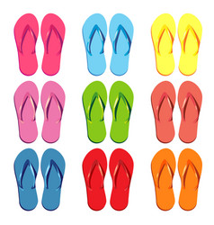 set of colored slippers for the beach vector image vector image