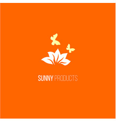 logo with flower and butterfly vector image