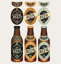 beer labels for three beer glass bottles vector image