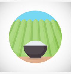 bowl of rice flat icon vector image vector image