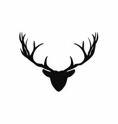 deer head with antlers silhouette black vector image vector image
