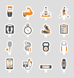 fitness icon sticker set vector image vector image