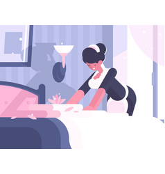 hotel service cleaning and linen change vector image