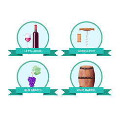 lets drink and corkscrew on vector image