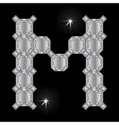 Metal letter M Gemstone Geometric shapes vector image