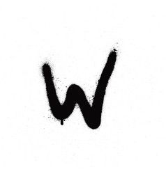 sprayed w font graffiti with leak in black vector image vector image