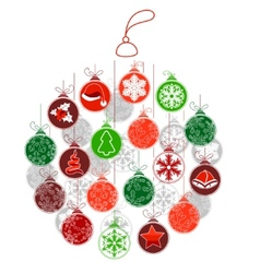 Stylized Christmas ball made of small ones vector image vector image