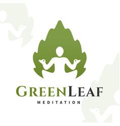 yoga leaf logo concept harmony insignia vector image vector image