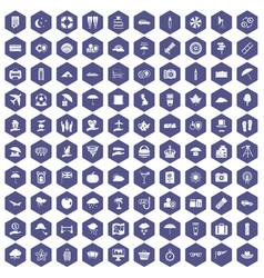 100 umbrella icons hexagon purple vector
