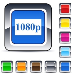 1080p square button vector