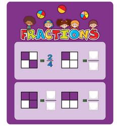 A math fractions worksheet vector