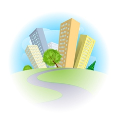 Abstract city on a green hill vector