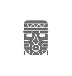 African ethnic tribal mask grey icon vector