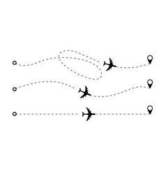 Airplane route dotted lines vector