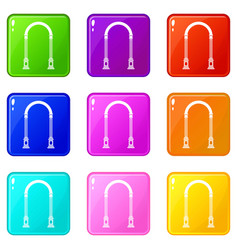 Arch icons 9 set vector