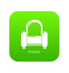 armchair icon green vector image
