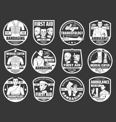 Bandaging first aid trauma injury medical icons vector