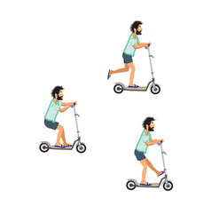 bearded scooterman vector image
