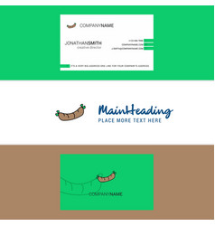 Beautiful hot dog logo and business card vertical vector